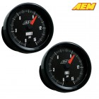 AEM Electronics Boost/Fuel Pressure SAE Gauge 0-15 Psi/ 0-1 Bar Analog (Universal)